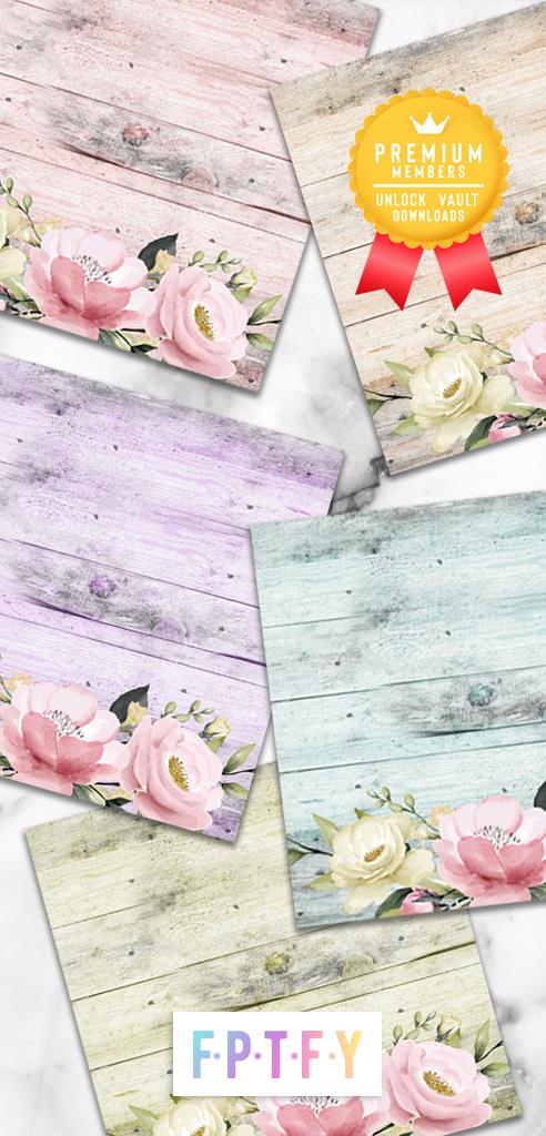 Spring Floral Wooden Digital Paper Backgrounds