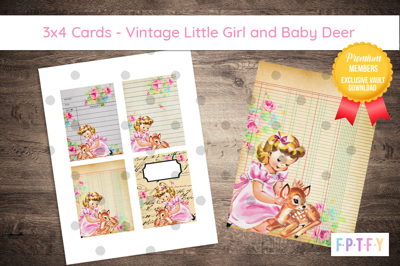 Vintage Little Girl Baby Deer 3x4 cards