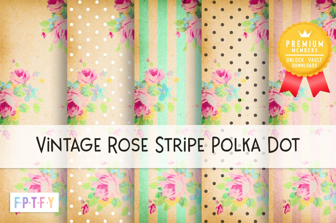 Vintage Rose Stripe Polkadot Digital Papers