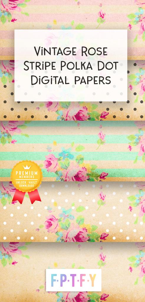 Vintage Rose Stripe Polkadot Digital Papers