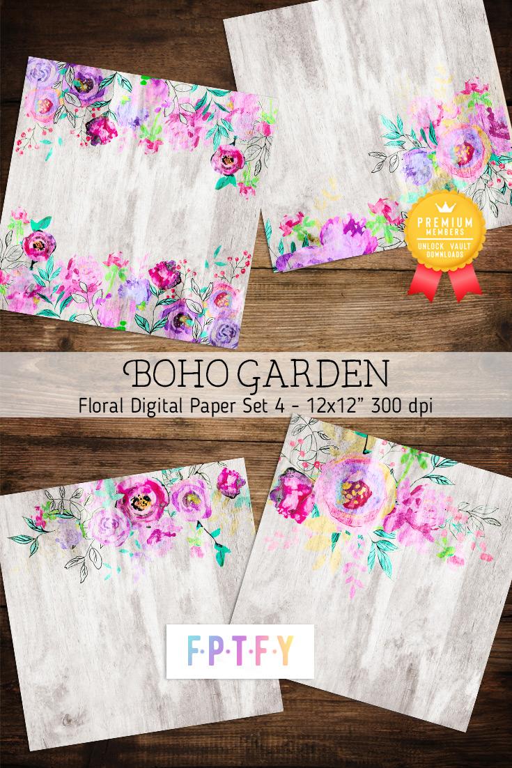 Boho floral digital Papers