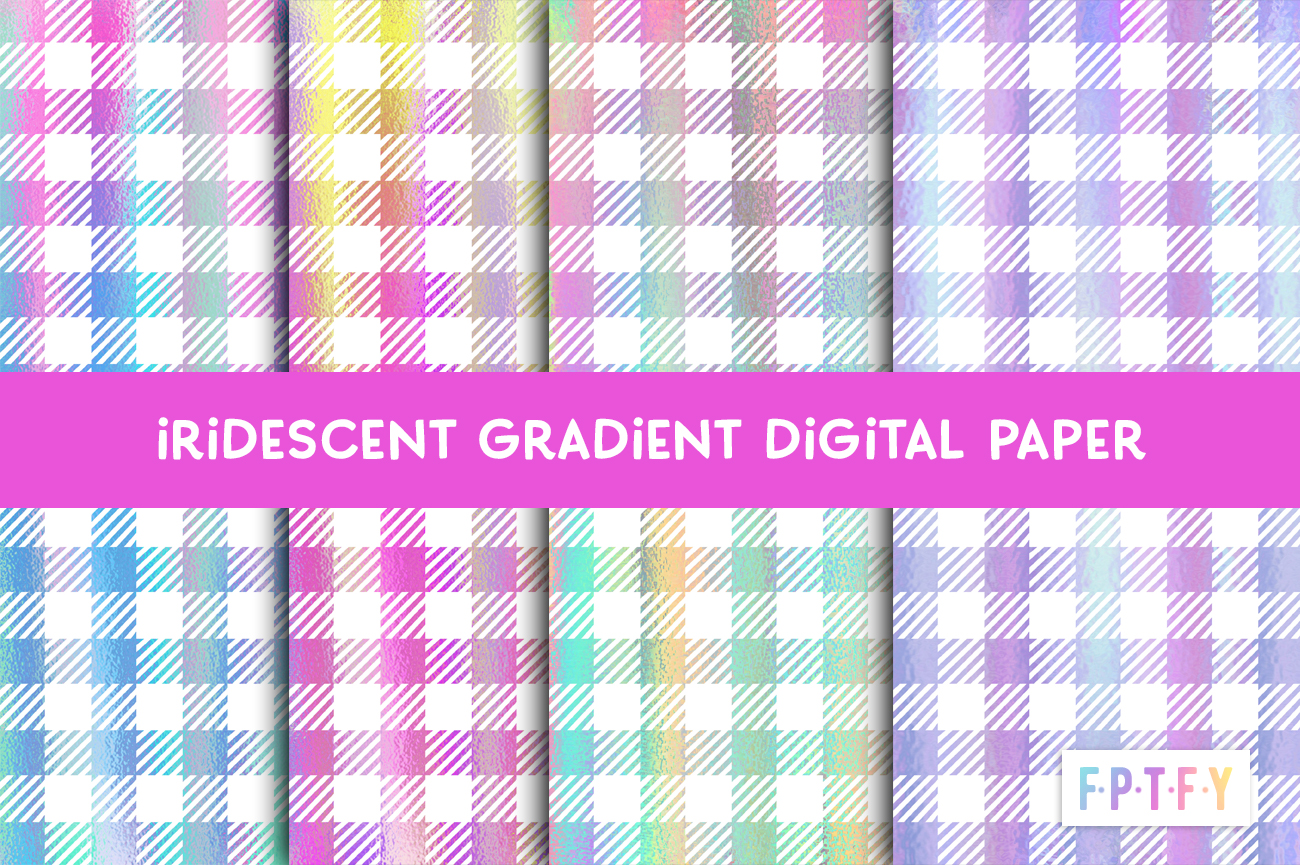Free Iridescent Gingham Digital Paper