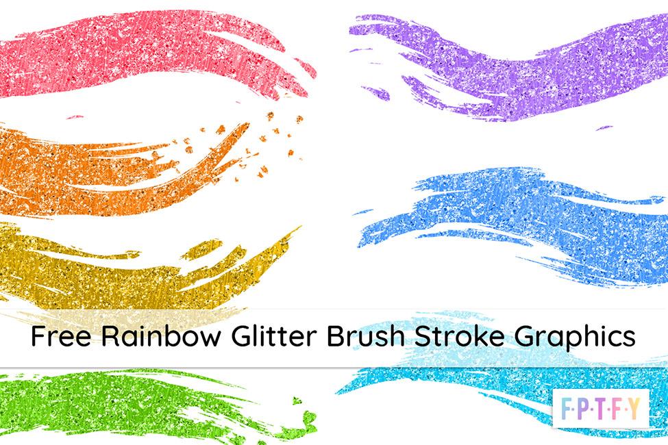 Free Rainbow Glitter Brush Stroke Graphics
