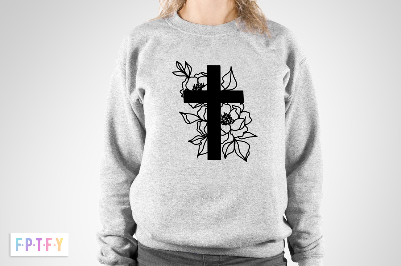 Free SVG Floral Cross