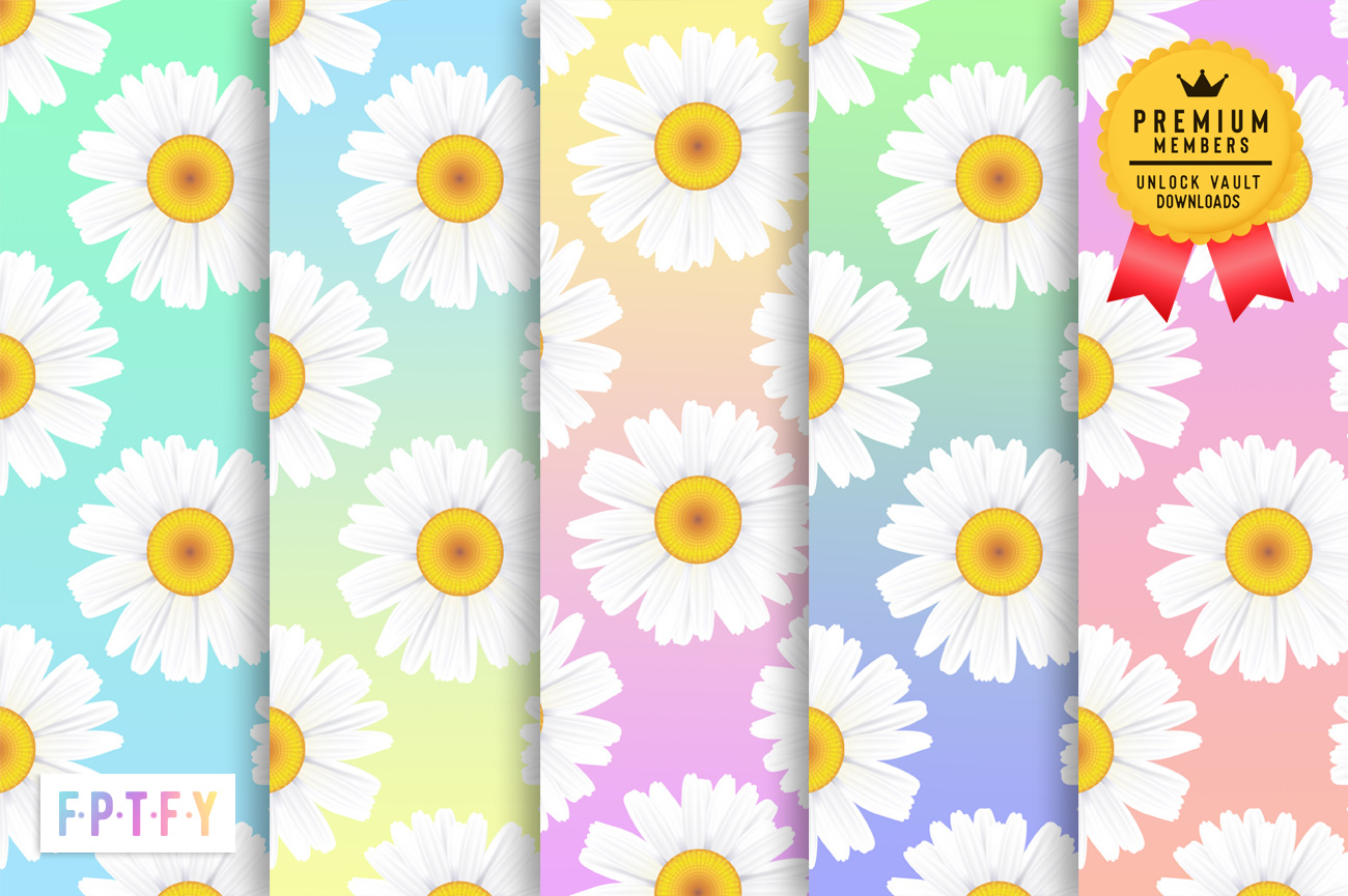 Gradient Daisy Digital Papers