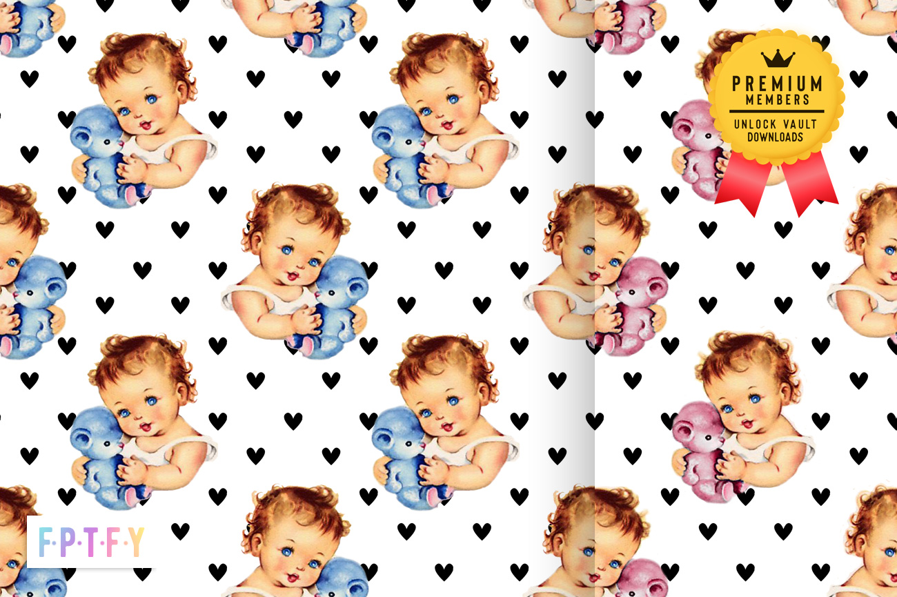 Vintage Baby Boy girl DigiPaper